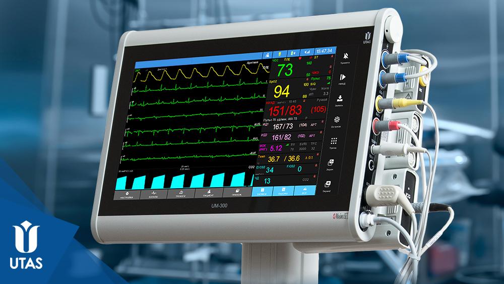 Монітори пацієнта ЮМ 300 із під'єднаними модулями за технологією UniPort