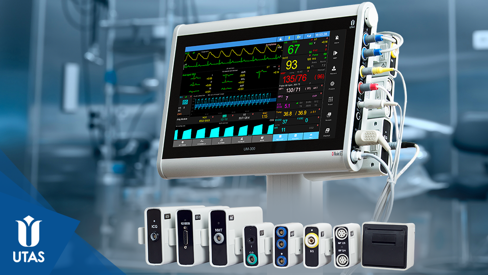 Монітор пацієнта ЮМ 300 із під'єднаними модулями за технологією UniPort