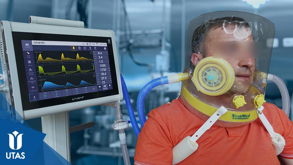 Неінвазивна вентиляція з шоломом у режимі вентиляції CPAP/PS, апарати ЮВЕНТ
